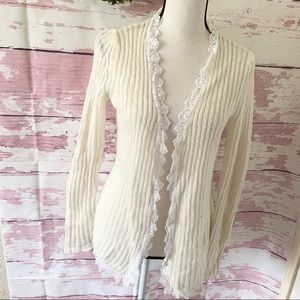 Apostrophe Cream Knitted Lace Long Sleeve Cardigan
